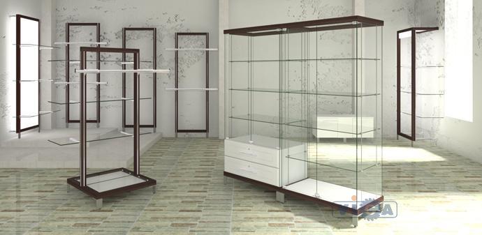 торговые витрины прилавки стеллажи из дерева и стекла для
